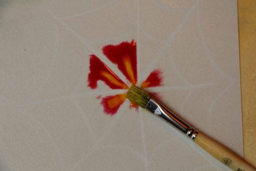 Wit krijt spinneweb Waldorf painting